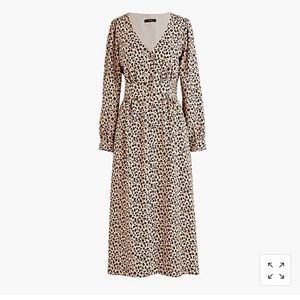 J Crew button front a line midi dress in leopard